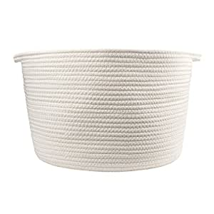"Orino Cotton Rope Storage Baskets with Handles, 15""x10"",Large, Off White"