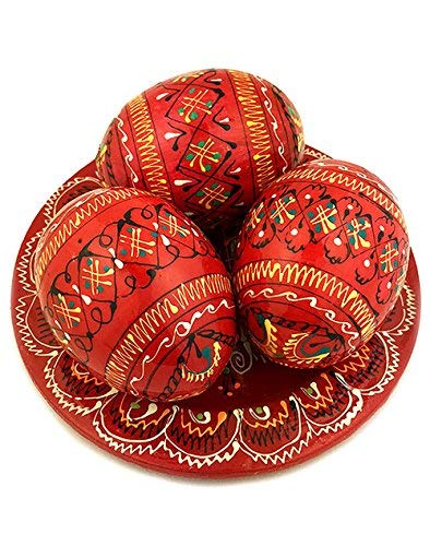 Religious Gifts 3 Red Ukrainian Hand Painted Wooden Easter Eggs Pysanky on Plate 2 5/8 Inch