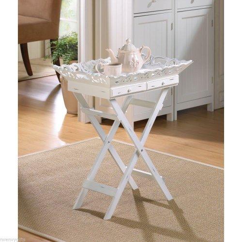 White Wood Shabby Cottage Chic ELEGANT FOLDING TRAY STAND TABLE - Table Shabby Folding
