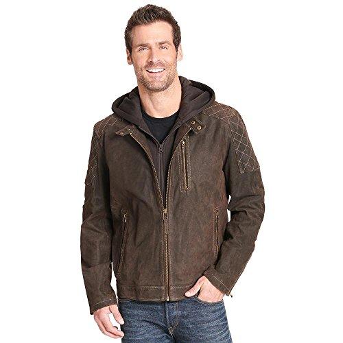 Black Rivet Mens Hooded Leather Cycle Jacket W/Diamond Topstitching XL (Black Rivet Leather Jacket)