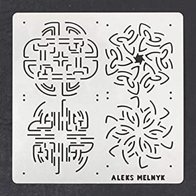 4 designs //Templates Tool for Wood Burning Aleks Melnyk #40 Metal Journal Stencils//Celtic Knot//Stainless Steel Stencils Kit 2 PCS Pyrography and Engraving//Scrapbooking//Crafting//DIY
