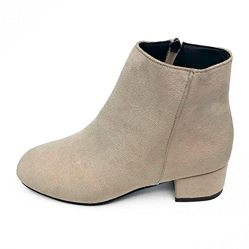 mujer de Botines Negro Otoño Botas tacón para Botines de Mujer para 38 Mujer XINANTIME Mujer plano Zapatos con Beige Botas cremallera XqE8v