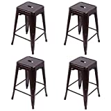 Costway Metal Bar Stools Tolix Style Industrial Backless Counter Height Stools w/ Square Seat Set of 4 (Copper)