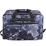 Kemanner Universal Sewing Machine Carrying Case Padded Sew Machine Tote Bag with Pockets and Handles (Floral-Navy Blue)