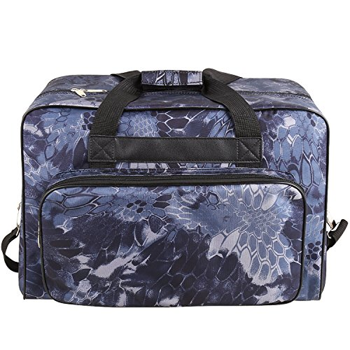 Kemanner Universal Sewing Machine Carrying Case Padded Sew Machine Tote Bag with Pockets and Handles (Floral-Navy Blue) by Kemanner