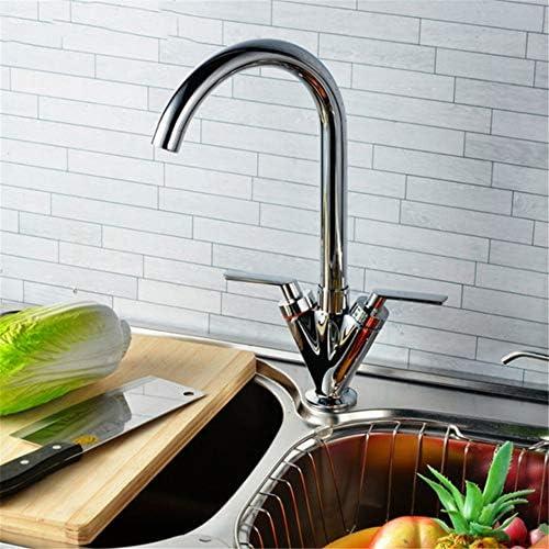 キッチン水栓 高アーク銅キッチン蛇口クロームメッキ冷たいお湯ミキサーダブルハンドルコントロールクロームカラーキッチンシンク水栓 キッチンとバスルームに適しています