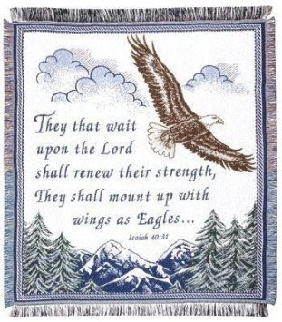 Isaiah Bible Verse 40:31 Woven Throw Blanket ECO2cotton USA Made