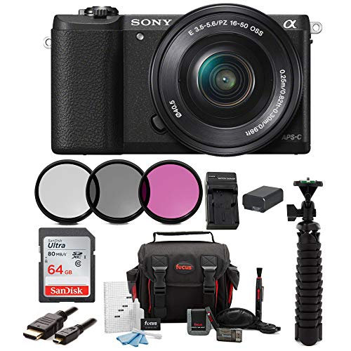 Sony Alpha a5100 Mirrorless Digital Camera w/16-50mm Lens & 64GB SD Card Bundle