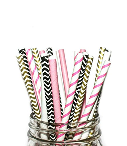 A Charming Galore Paper Straws- Pink, Black White, Disposable Straws (125 Straws) -