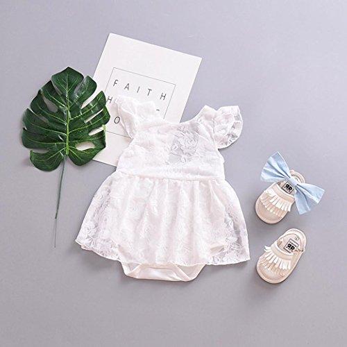 Omiky® Kleinkind Baby Mädchen Rüschen Ärmel Kleid Strampler Spitze Ärmellos Outfits Kleidung Weiß
