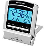 MARATHON CL030035 Travel Atomic Alarm Clock with 4 Time Zones, 5 Languages & Travel Pouch - Batteries Included