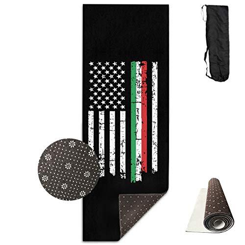 Tataoceanie Yoga Mat Italian American Thin Line Flag Large Long Non Slip Workout Mat Rug Carpet with Free Carry Bag for Women Men