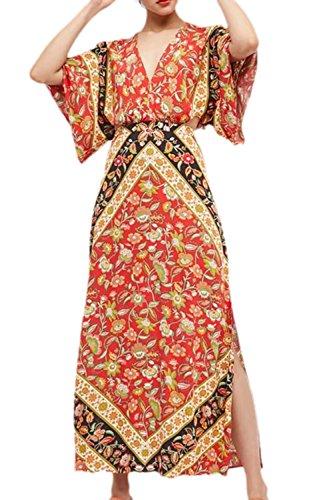 Fente red t Cou La A Nu Asymtrique t Robe C V Floral Bohme Femme Maxi Dos x8gq1
