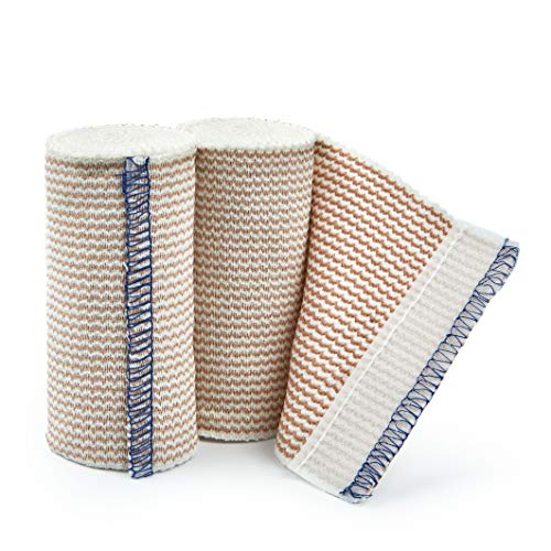 Premium Elastic Bandage Wrap Compression Roll with Velcro Includes Hook and Loop Closure, Set of 2 Pack FDA Approved, One Rolls of Each Size 4 Inch x 4.6 Meter Polyester Cotton.