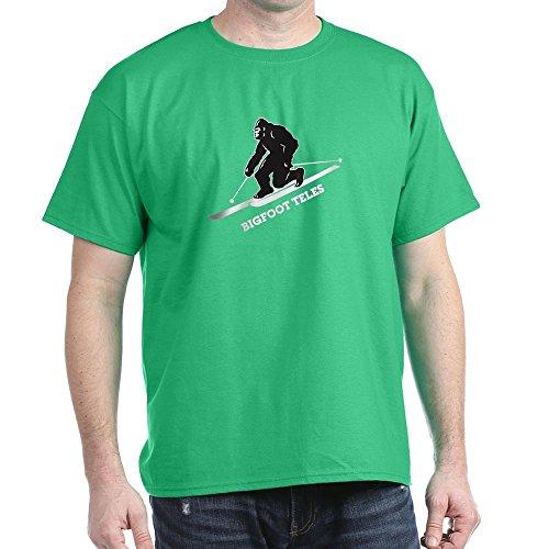 CafePress Bigfoot Teles 100% Cotton T-Shirt Kelly - Skis Powder Daddy