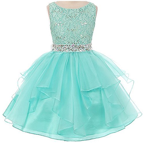 Little Girls Lace Bodice Asymmetric Ruffles Tulle Skirt Rhinestones Flower Girl Dress Mint - Size 6 -
