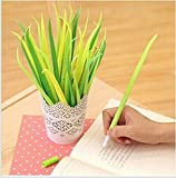 Generic Poo-leaf Forest Green Grass-blade Ballpoint Silicon Grass Pen Black Ink Pack of 12