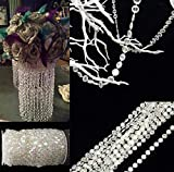 Acrylic Clear Crystal Beads Diamond Garland Strands Rhinestone by Roll for DIY Doorway Beads String Curtain, Wedding, Birthday Party Decorations, Arts and Crafts Projects