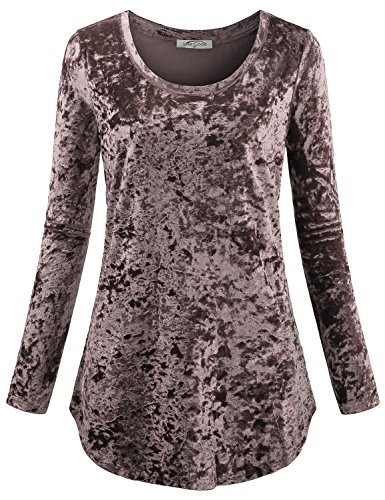 SeSe Code Dressy Shirts Women Cute Long Sleeve Velvet Clothing Fall Aesthetic Semi Formal Breathable Clothes House Soft Surroundings Textured Curvy Thin Glitter Loose Tunic Coffee XL (Tunic Velvet Silk)