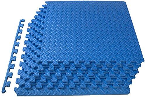 ProSource Puzzle Exercise Mat, EVA Foam Interlocking Tiles, 24 Square Feet, Blue