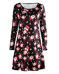 OUGES Women's Long Sleeve Christmas Print Xmas Gifts Casual Dress