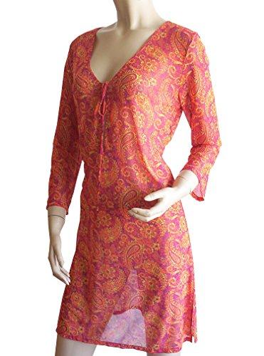 Solar ligero Transparente de manga larga vestido de playa, túnica 0221502–�?6Naranja/Amarillo