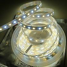 LEDENET Super Bright Warm white Daylight Dual Color Flexible 5050 LED Strip Light 2800K-7000K Temperature adjustable 12V 300LEDs Bi-color Ribbon Tape Lamp 16.4ft (5m) Waterproof Outdoor Use
