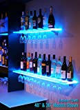 2' LED Lighted Floating Bar Shelving with Integrated Wine Glass Rack & LED Controller
