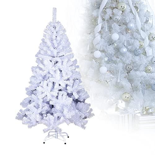 Randaco Albero di Natale artificiale, 150 cm, con 350 punte, difficilmente infiammabile, in PVC, albero di Natale, decorazione natalizia, colore: bianco