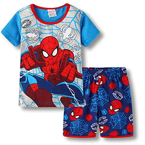 Boys Pajamas 100% Cotton Spiderman Short Kids Snug Fit Pjs Summer Toddler Sleepwear (31, -