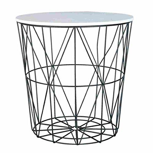 Clayre & Eef 6Y2205 Tisch Beistelltisch Tischplatte weiß ca. Ø 40 x 40 cm