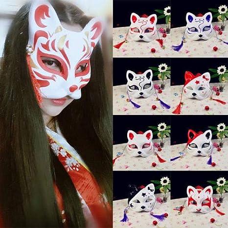 JOFANLY Máscara de Zorro de Media Cara, Anime japonés, Pintada a ...