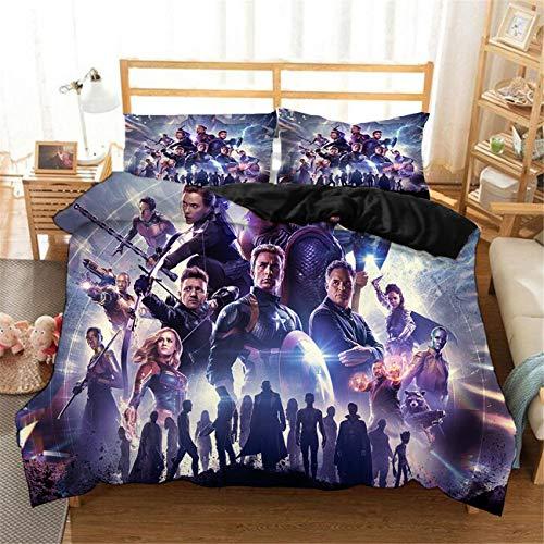 ZI TENG 3D Avengers Movie Duvet Cover Set 2019 Most Popular Movie Marvel Avengers Bedding Set Children Adult Favorite 100% Microfiber Bed Set Twin Full Queen King Size