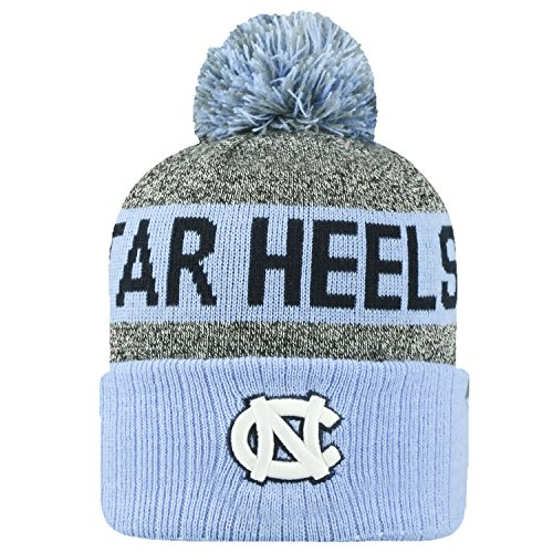 Top of the World NCAA Arctic Striped Cuffed Knit Pom Beanie Hat-North Carolina Tar Heels