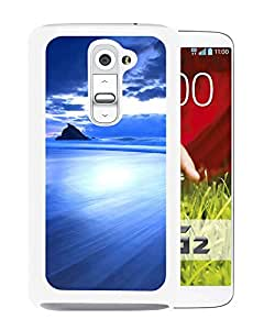 New Beautiful Custom Designed Cover Case For LG G2 With Wonderful Blue Gloomy Surging Beach Landscape (2) Phone Case