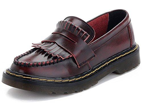 Summerwhisper Dames Trendy Pony Met Ronde Neus Lage Top Loafers Flats Instappers Lederen Oxfords Schoenen Rood