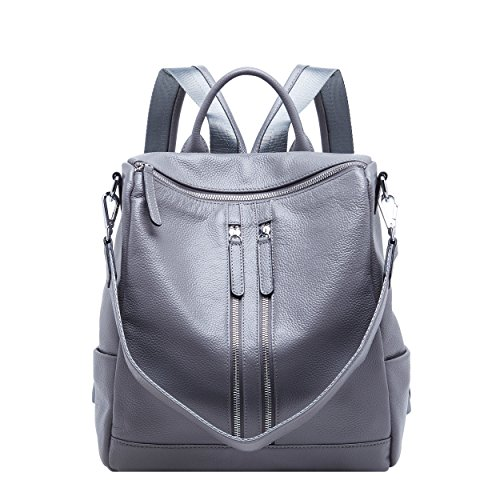 BOYATU Convertible Genuine Leather Backpack Purse for Women Fashion Travel Bag (Grey-03) by BOYATU