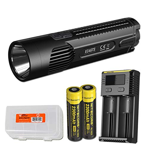 NITECORE EC4GTS 1800 Lumen Long Throw Search Flashlight with 2 Rechargeable Batteries, 2 Channel Charger, and LumenTac Organizer