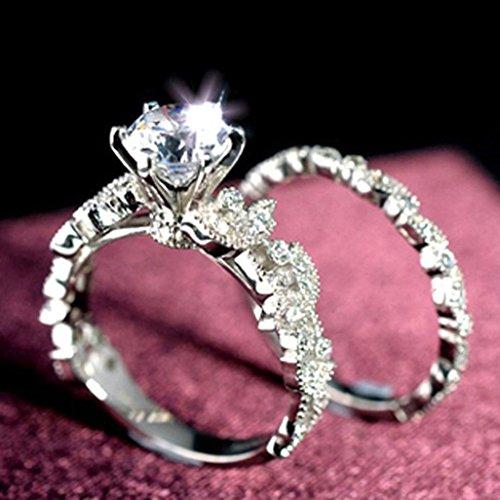 Diamond Ring Set,Vibola Unique Leaf Design For Women Jewelry Wedding Engagement classic Ring (Sliver, 9)