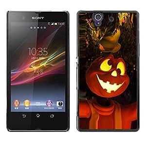 Sony Xperia Z L36H - Metal de aluminio y de plástico duro Caja del teléfono - Negro - Halloween Pumpkin Faces