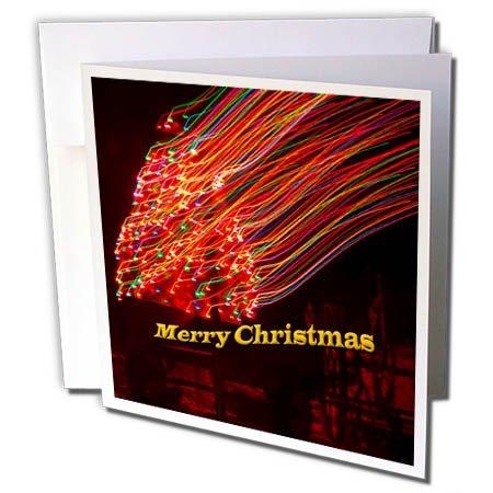 (3dRose Jos Fauxtographee- Christmas Slow Shutter - A slow shutter mistake of a lighted tree saying Merry Christmas - 1 Greeting Card with envelope)