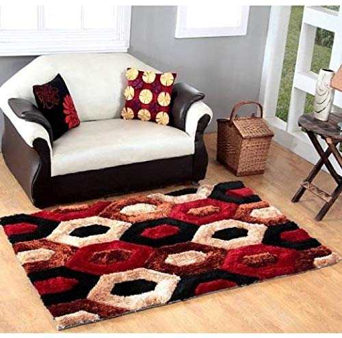 Global Home Collection Anti Skid Carpet Rug for Living Room,Hall & Drawing Room -Size (6 x 9 feet) Red