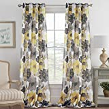 Rustic Blooming Floral Home Decoration Natural Linen Blended Semi Sheer Pair Curtains Breathable and Airy for Living Room/Bedroom Room, Nickel Grommet Vintage Yellow and Gray Floral, 52 by 96 Inch For Sale