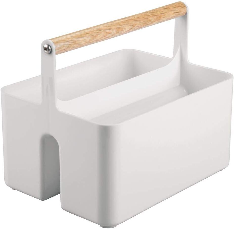 hellgelb tragbare Sortierbox mit 2 F/ächern f/ür Babyzubeh/ör auf dem Wickeltisch BPA-freier Kunststoffbeh/älter mit Holzgriff f/ür Flaschen Windeln /& Co mDesign Kinderzimmer Organizer