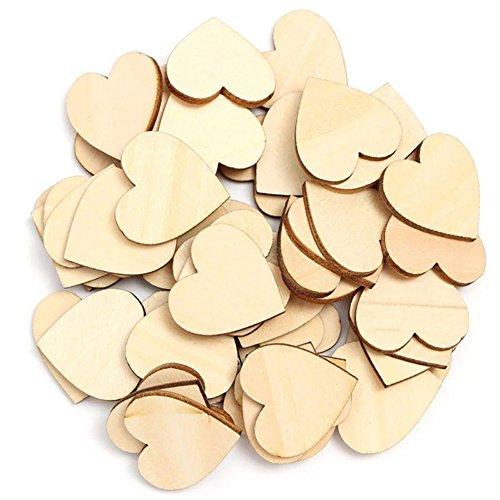 ESHOO Unfinished Wooden Love Heart Cutout Shape Wedding Plaque Art Craft Decoration, 50PCS