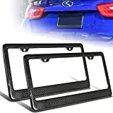 (Pack of 2) JDM Style 100% Real Carbon Fiber License Plate Frame Holder Black 3D Twill Weave Tag Front/Rear US Auto Car