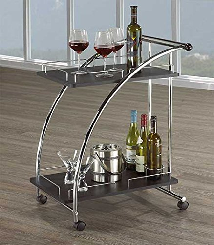 Black Wood & Chrome Tea Cart Import Furniture