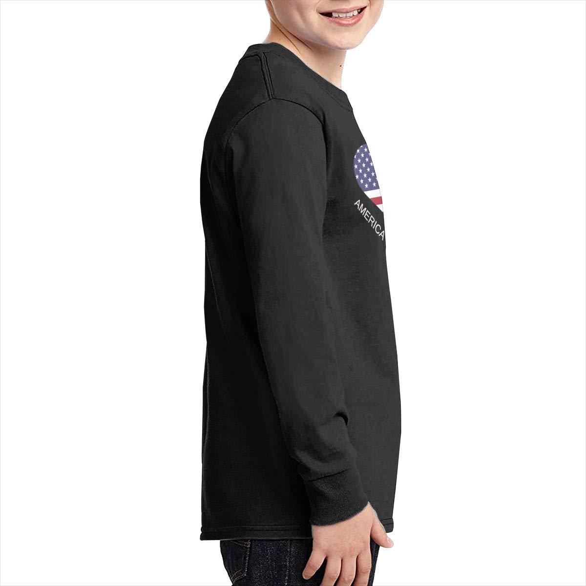 Teenagers Teen Girls America Iceland Flag Heart Printed Long Sleeve 100/% Cotton Tee Shirt