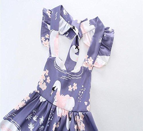 IGEMY Little Cute Girls Spitze Vögel Floral Layered Tüll Halter Prinzessin Kleid Lila