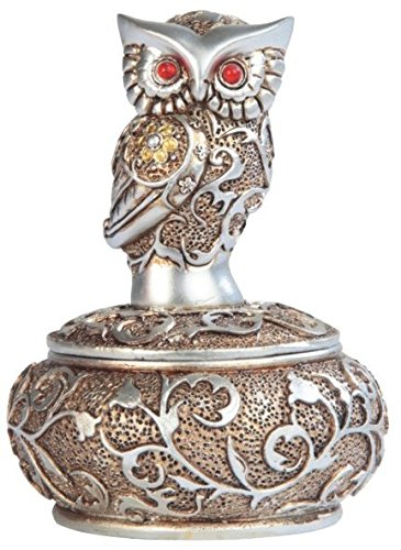 George S. Chen Imports SS-G-54365, 4 Inch Silver and Bronze Owl with Red Gems Trinket Box
